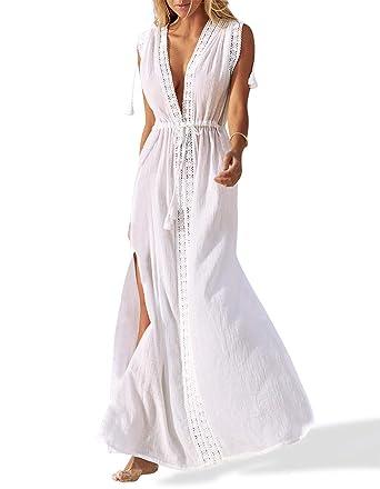 b91efd776f Omerker Women's Cover Up V Neck Bathing Suit Swimsuit Cover Ups Long Maxi  Beach Dress(