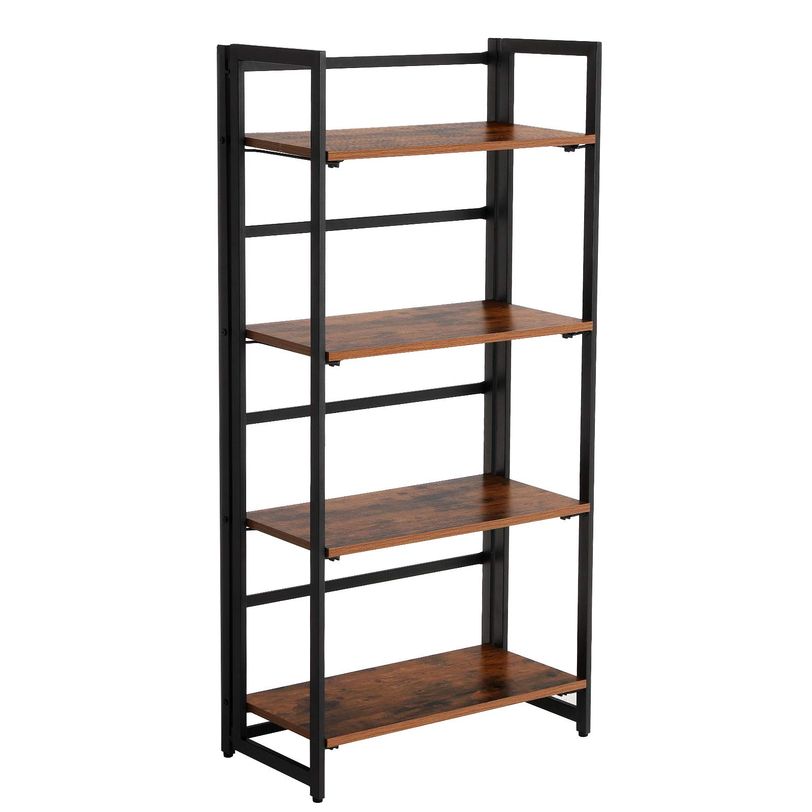 Comodo Folding Bookshelf, 4-Tier Bookcase, Multifunctional Shelving Unit, Easy Assembly, with Metal Frame, Rustic Dark Brown