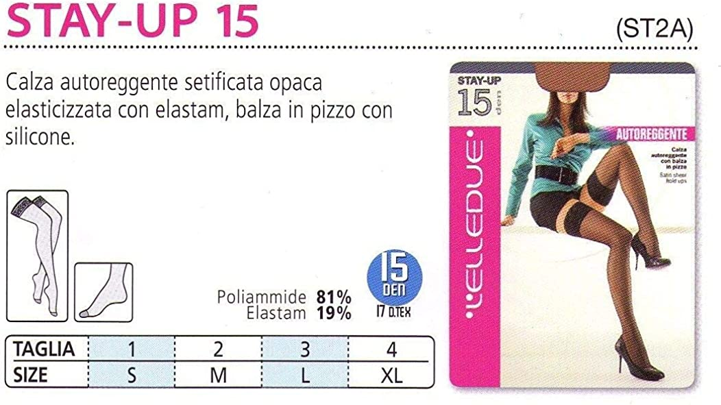 LElledue Pacco da 3 Calze Collant Autoreggenti Stay Up 15 DEN Setificata Opaca ed Elasticizzata con Balza in Pizzo Siliconata