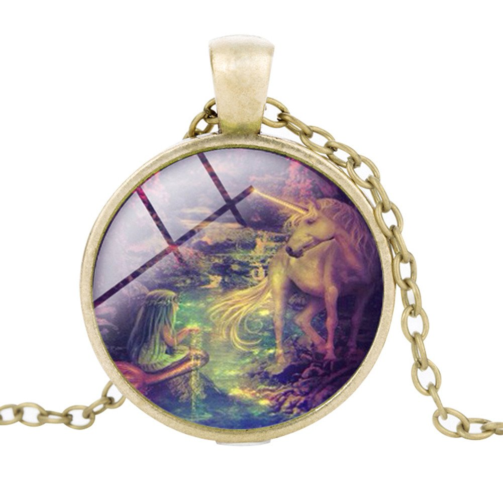 ALCYONEUS Vintage Unicorn Cabochon Glass Pendant Necklace Unisex Sweater Chain Jewelry 24888