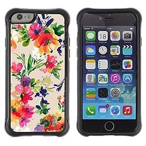 WAWU Funda Carcasa Bumper con Absorci??e Impactos y Anti-Ara??s Espalda Slim Rugged Armor -- watercolor floral art flowers vibrant -- Apple Iphone 6