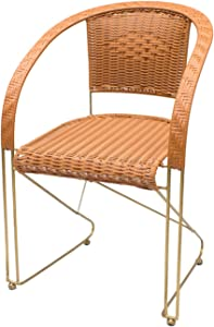 ZJDU All-Weather Wicker Chair, Wicker Stacking Chair,Metal Frame,Patio Balcony Furniture Dining Seats,Outdoor Dining Chair for Outside Patio Tables,Yellow