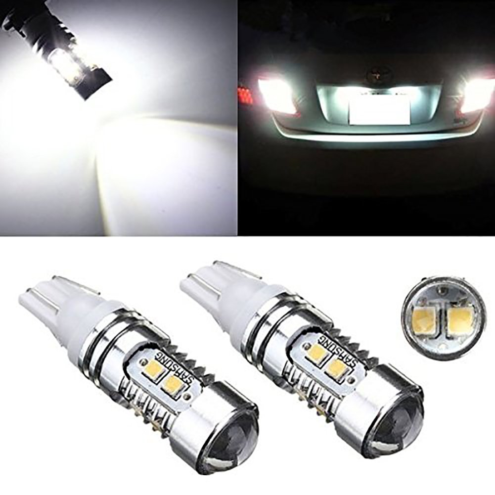 KATUR 2Pcs T10 10 SMD 2835 LED Chip Xenon White Car Auto Wedge Side Light Lamp Bulb Projector DC12V