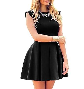 7c1be30ce61708 SWEETFISH Sommerkleid Spitze Kleid Damen Cocktailkleid Festlich Partykleid  A Linie Ärmellos Knielang (EU S(