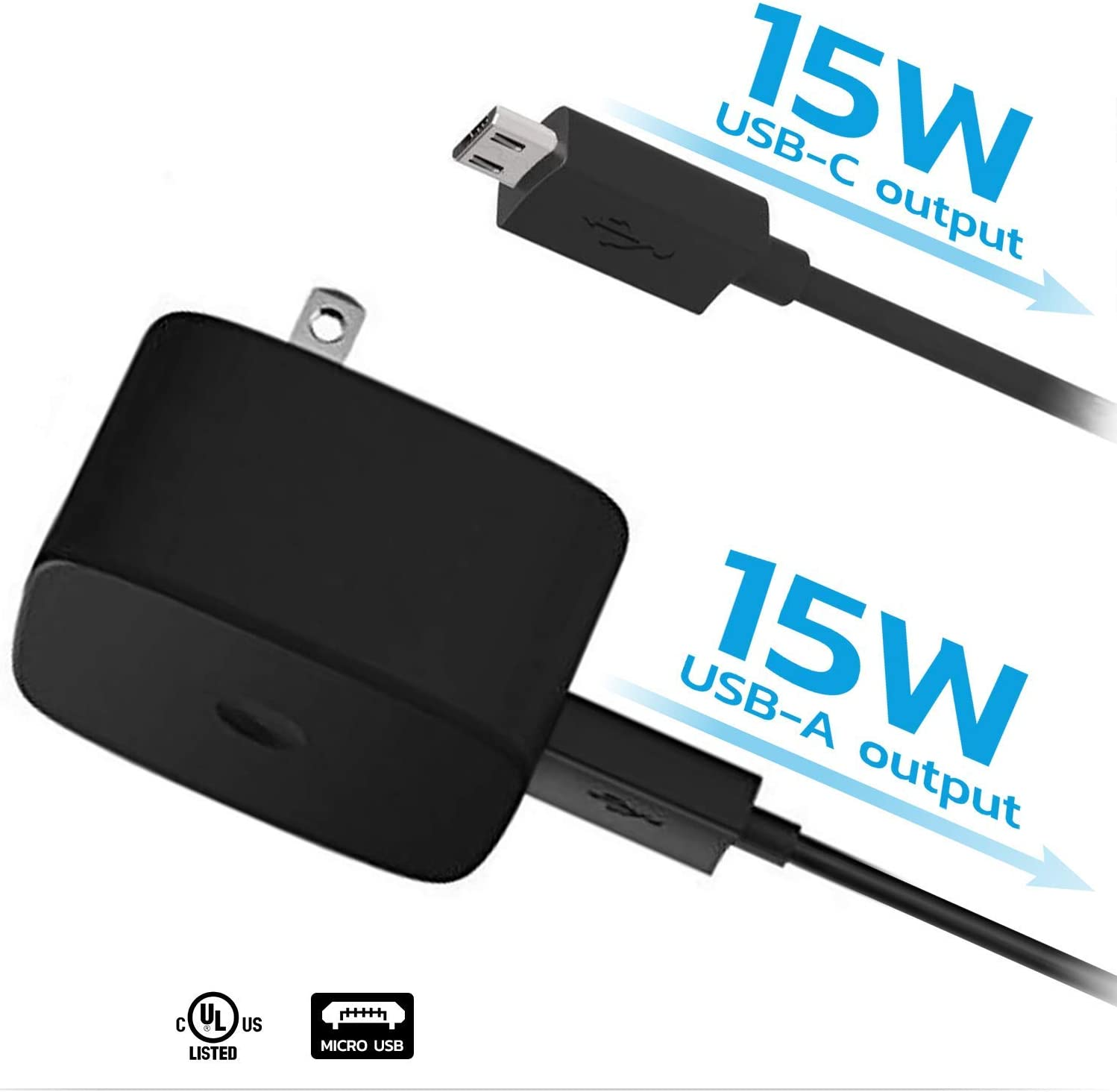 3.3ft USB MicroUSB Cable! Turbo Fast Powered 15W Wall Charging Kit Works for Verizon Wireless Ellipsis 7 with Quick Charge 2.0 USB 1M