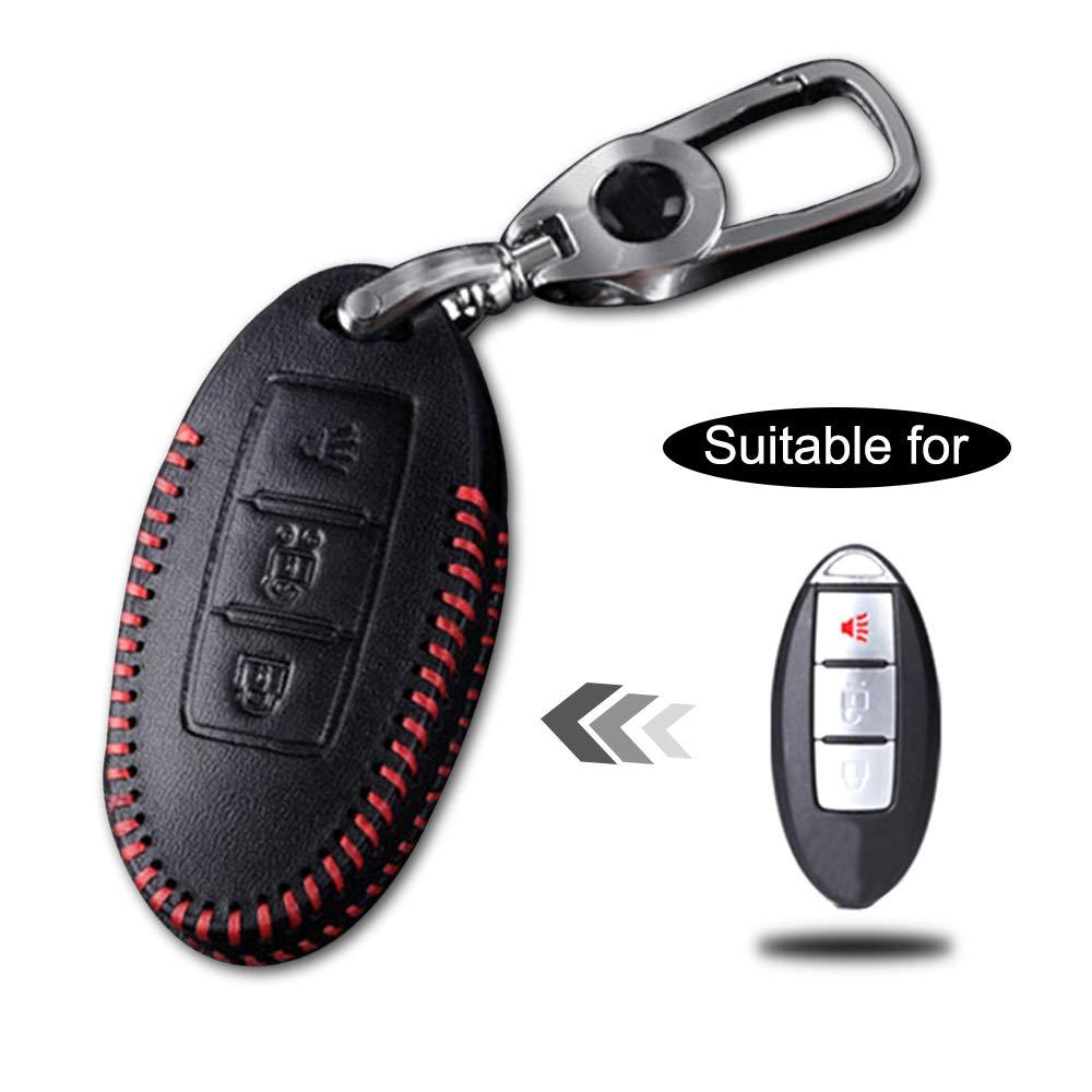 Carcasa Cuero para Llave Nissan 3 Botones Llave Control Remoto Inteligente línea roja con Llaveros 1 PC Modelo B