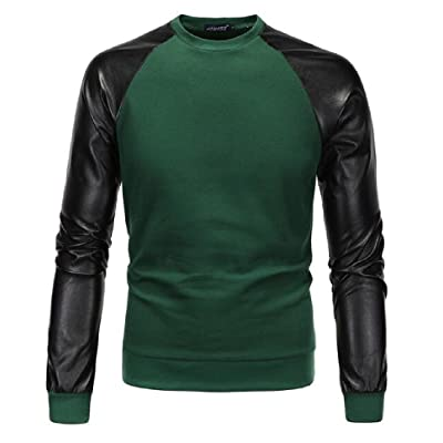 AngelSpace Men's Pullover Long Sleeve Autumn Hoodie Pu Leather Outwear