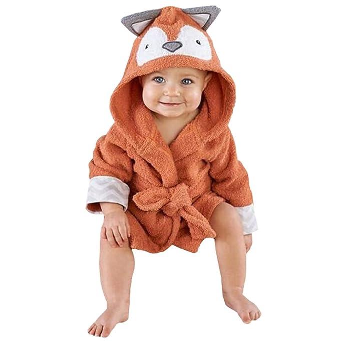 CuteOn Bebé Albornoz - Unisexo Bebé Niños Dibujos animados Animal Franela Encapuchado Bata de baño Pijama Ropa de dormir Zorro 130cm: Amazon.es: Ropa y ...