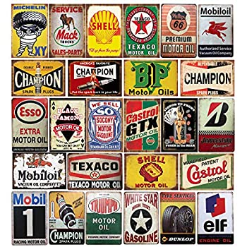Image of Home and Kitchen 26 Pieces Gas and Oil Tin Signs, Retro Vintage Metal Sign for Home Man Cave Garage, 8x12 Inch/20x30cm