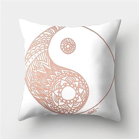 Domivon Decorativa Almohada Yin Yang Rose Gold Impresión Impreso Sofá Decoración Cojín Caso Agarre Bar Funda de Almohada cojín de móvil