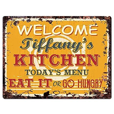 Amazon.com: Bienvenido Tiffany s Chic cartel de metal ...