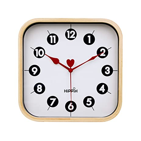 Amazoncom Hippih Silent Wall Clock Wood 9 inch Non Ticking