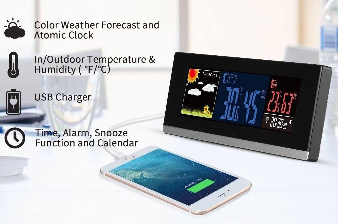 Atomic Wireless Weather Station with Wireless Sensor Indoor//Outdoor