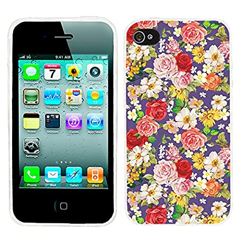 iPhone 4s Case Cute,iPhone 4 Case for Girls, ChiChiC full Protective Stylish Case slim durable Soft TPU Cases Cover for iPhone 4 4g 4s,vintage pink red purple Beautiful flower romantic floral (Iphone 4 Case Artsy)