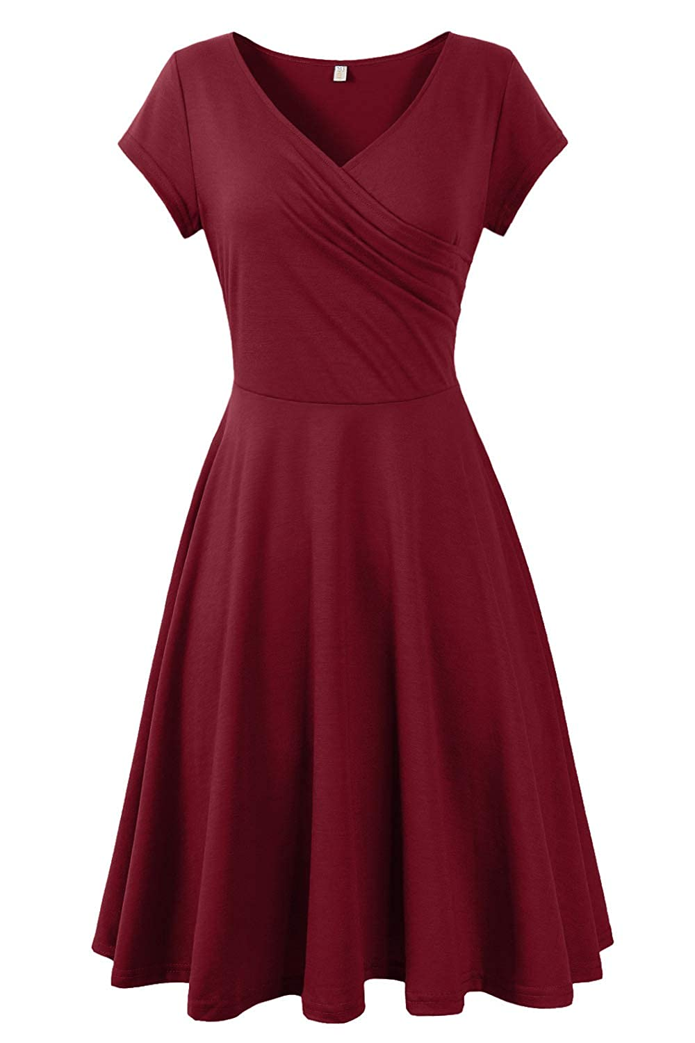 21734b41035ab Genhoo Women V-Neck Skater Dresses A-Line Fit and Flare Swing Party Dress  Casual Elegant Midi Dress