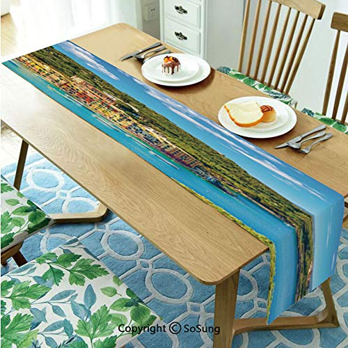 Italy Table runner for Farmhouse Dining Coffee Table Decorative,Portofino Landmark Aerial Panoramic View Village and Yacht Little Bay Harbor Decorative 16
