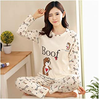 HAOLIEQUAN Womens Pigiama Imposta Primavera Autunno Cartoon Donna Lungo 2 Pezzi Sleepwear Suit Home Donne Regalo Sleepwear Femminile