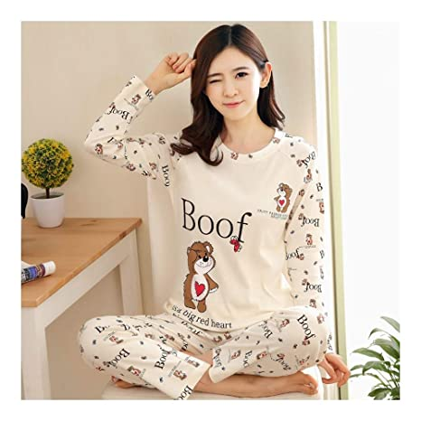 70a9ff3d9c HAOLIEQUAN Womens Pigiama Imposta Primavera Autunno Cartoon Donna Lungo 2  Pezzi Sleepwear Suit Home Regalo Donna