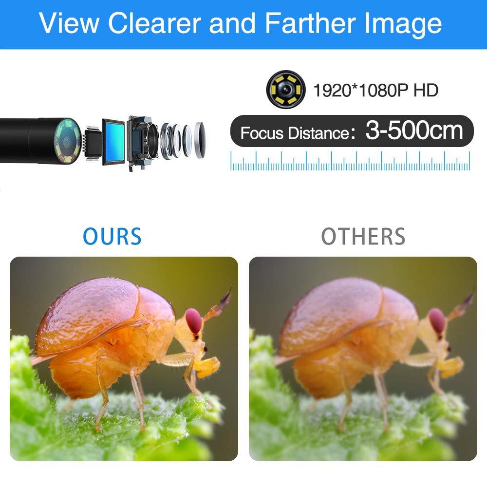 iPhone PiAEK C/ámaras de inspecci/ón Android Camara endoscopica para iOS 16.4FT
