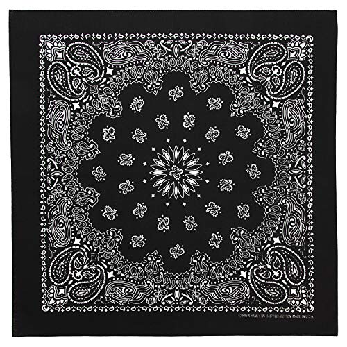 - 100% Cotton Western Paisley Bandanas (22 inch x 22 inch) Made in USA - Black Single Piece 22x22 - Use For Handkerchief, Headband, Cowboy Party, Wristband, Head Scarf - Double Sided Print