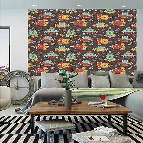 Space Huge Photo Wall Mural,Outer Space Elements Rockets UFO and Crafts Stars Heavenly Bodies Funny Alien Cartoon Decorative,Self-Adhesive Large Wallpaper for Home Decor 108x152 inches,Multicolor