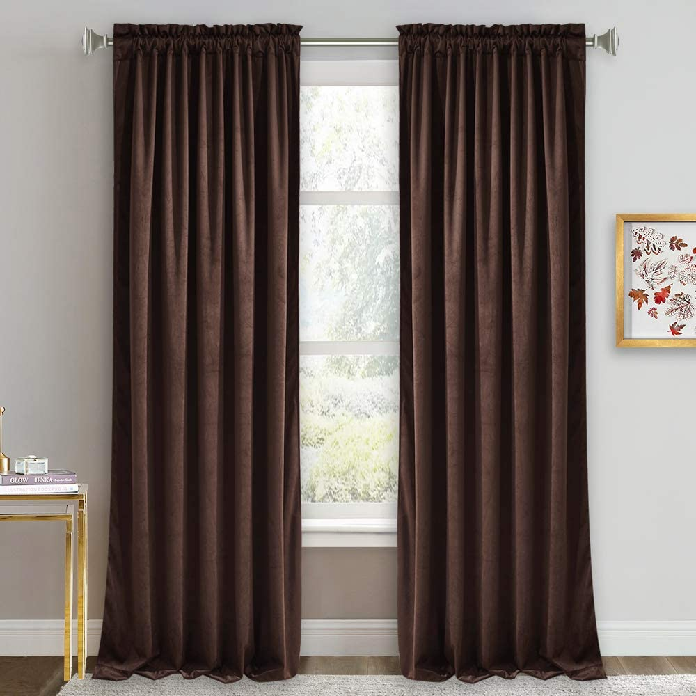 RYB HOME Blackout Velvet Curtains - Heavy Duty Window Panels for Living Room Light Block Drapes for Bedroom Thermal Insulated Drapery with Rod Pocket, 52 x 96 inches Long, Chestnut, 2 Panels