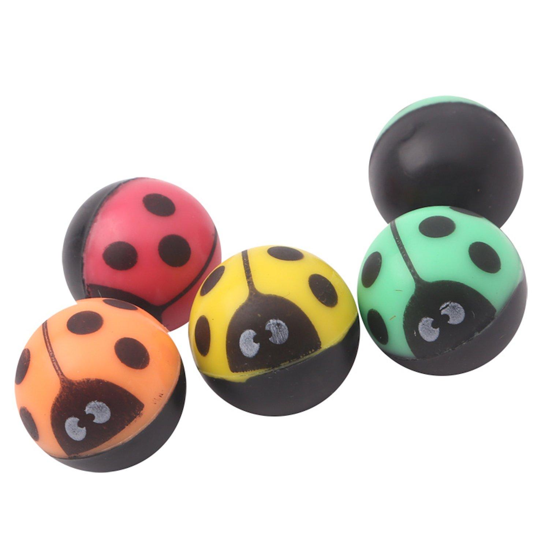 Lot de 12 coccinelle balles sautantes | Cadeaux pour les enfants | Balls colorés drôles | Balle en caoutchouc rebondissante | mélange de couleurs | amusement spécial | Ensemble Jouets| pour sac-cadeaux pour anniversaire de fête d'enfants | petits cadeaux a
