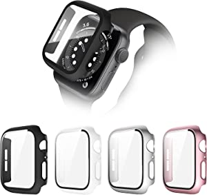 POHNUI 4 Pack Hard PC Case Compatible with Apple Watch Series SE/Series 6/Series 5/Series 4, Full Cover HD Tempered Glass Screen Protector Case, Shockproof Bumper Protector for iWatch Cover 38mm
