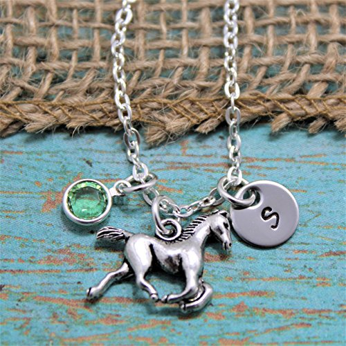 Horse Necklace Horseback Birthstone Initial