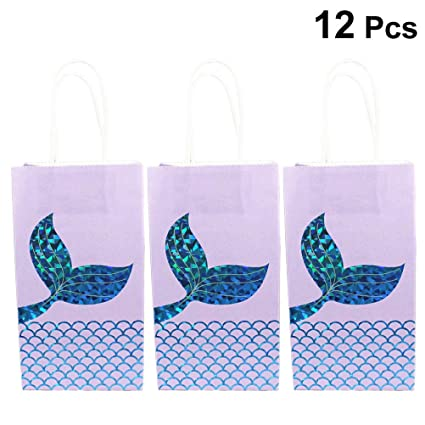 Amazon.com: Toyvian Paper Gift Bags Mermaid Tail Candy Bag ...