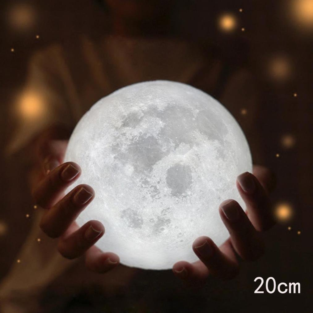 shubuy照明ナイトライトLED 3d Magical Moon子供部屋ランプ、USB充電式Lunar夜ライト、ホーム装飾夜ライトwith Wooden Stand forキッズ赤ちゃん寝室ノベルティライト A ホワイト M16 B075K58632 A