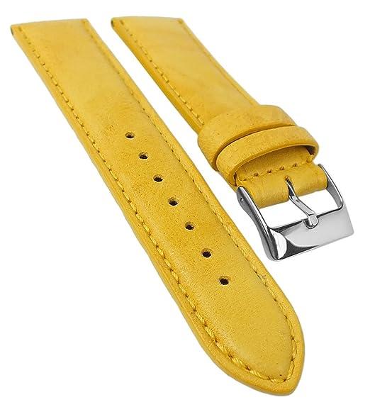 ... País De Mayo para banda reloj de pulsera | piel Amarillo con transpirable perforierung 33710, puente ancho: 22 mm, cierre: silbern: Amazon.es: Relojes
