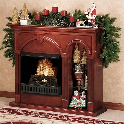 Southern Enterprises Cambridge Lighted Curio Ventless Fireplace Classic Cherry