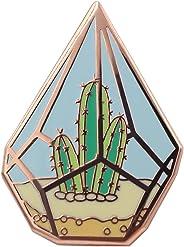Real Sic Cactus Enamel Pin - Cute Cactus in Geometric Terrarium Lapel Pin - A Succulent Garden for Backpacks, Jackets, Hats