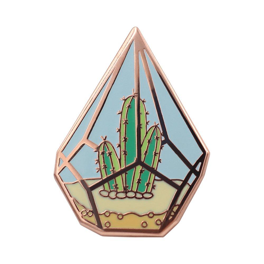 Real Sic Cactus Enamel Pin by Cute Cactus in Geometric Terrarium Lapel Pin - Premium Unisex Collection