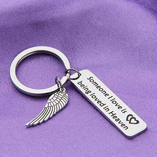 MAOFAED Memorial Keychain Someone I Love Is Being Loved In Heaven Sympathy Gift Loss of Loved One Memorial Gift (Be Loved in Heaven Memorial Gift) by MAOFAED (Image #4)