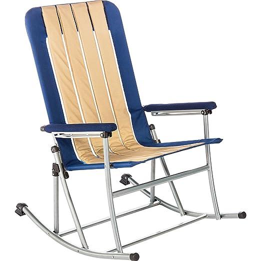 Amazon Com Kamp Rite Folding Rocking Chair Blue Tan Sports