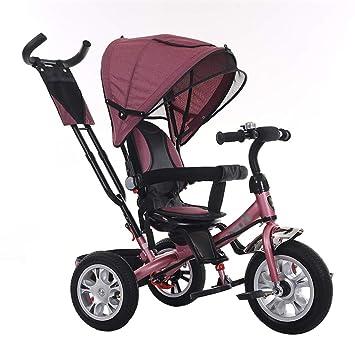 Cochecito de bebé Multifuncional Triciclo Bicicleta Marco de Acero al Carbono Trike para niños con Embrague y arnés de Seguridad Carro para niños de 1 a 5 ...