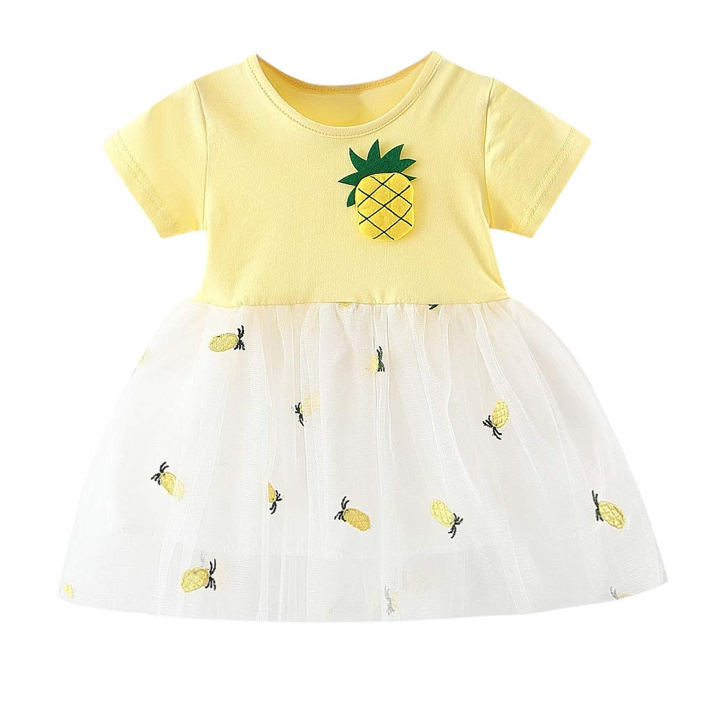 Straw Hat 2Pcs Suit Dinlong Toddler Baby Girl Short-Sleeved Pineapple Printed Patchwork Tulle Skirt Party Princess Dresses