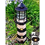 Large Fiberglass Solar Lighthouse (Green / Ivory)