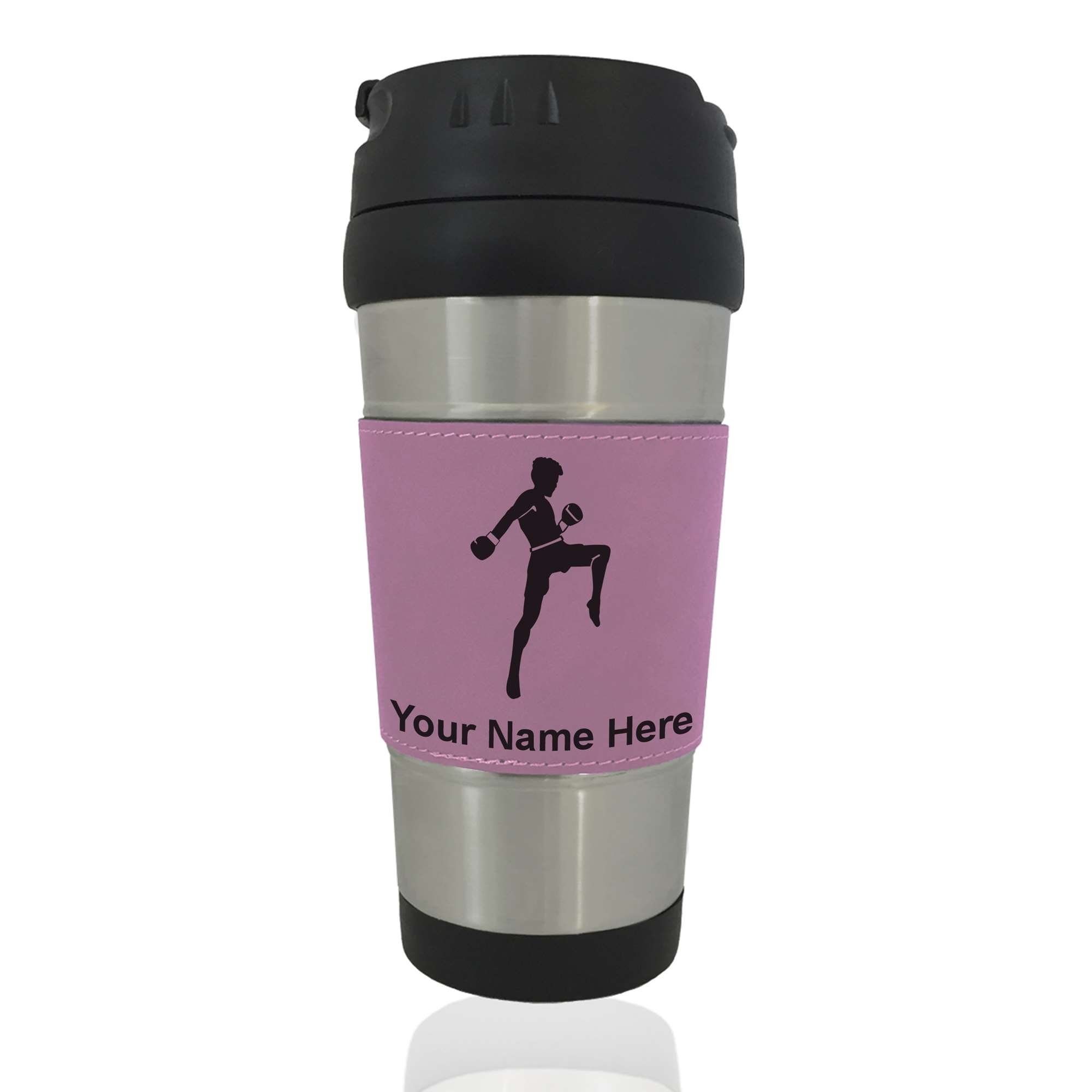 Travel Mug - Muay Thai Fighter - Personalized Engraving Included (Pink)
