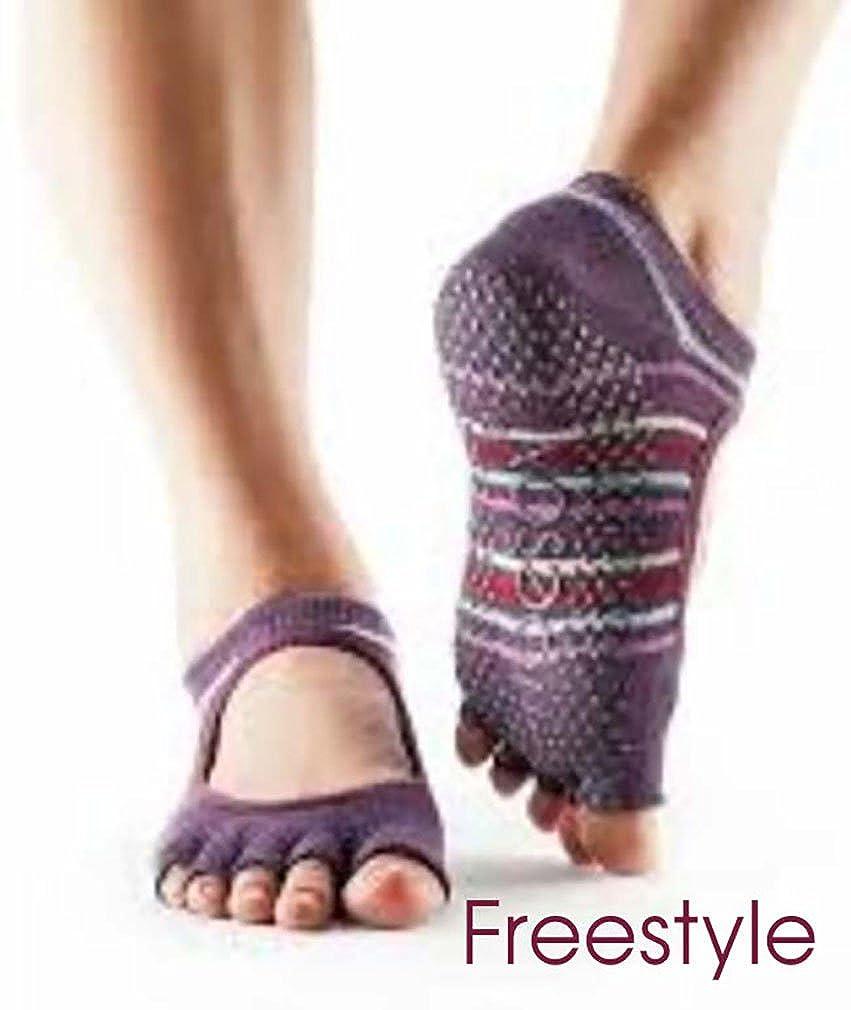 Toesox Mujer 1 par Bella Yoga Calcetines de algodón orgánico con dedos abiertos en negro