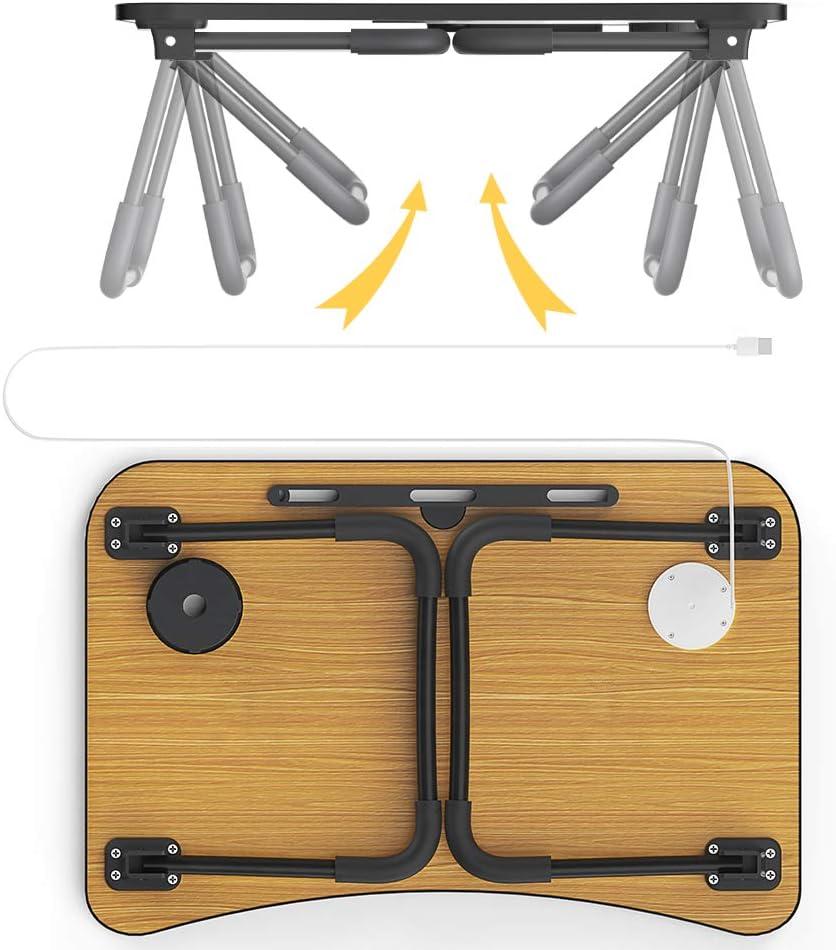 Elekin Tavolino PC Letto Scrivania da Tavolo Supporto USB//Portabicchieri su Divano Letto con Piccola Lampada da Tavolo e Piccolo Ventilatore