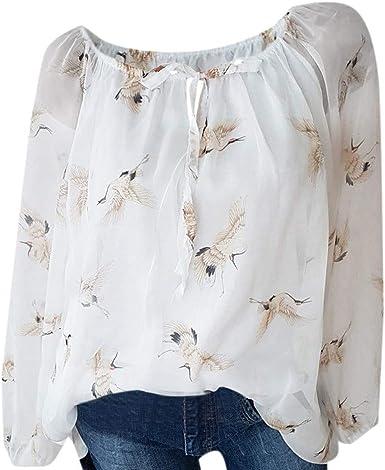 Camiseta para Mujer, Mujeres Casual Chiffon Costura Impresión Suelta Camisa De Hombros Fríos Blusa Tops Camiseta de Loose Casual Camiseta de Cuello Redondo Tallas Grandes Camisetas: Amazon.es: Ropa y accesorios