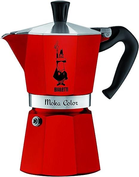 Bialetti 0009132 Cafetera Moka Express capacidad para 3 tazas aluminio, color rojo: Amazon.es: Hogar