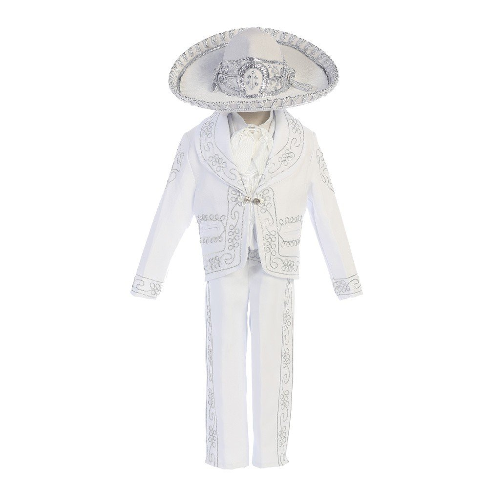 Angels Garment Baby Boys White ''Papa Con Virgen'' Charro Baptism Outfit 18-24M