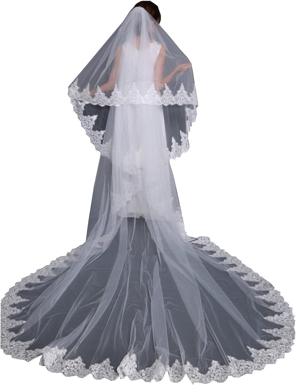 Kelaixiang Lace Hem 2 Layered Long Wedding Veils White