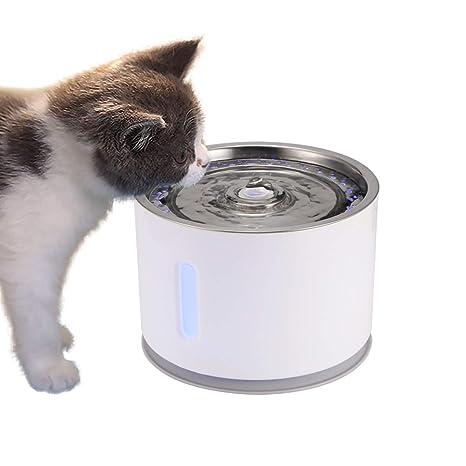 TiooDre Fuente de Agua para Mascotas, Fuente de Agua Potable de Agua Dulce de 2.4