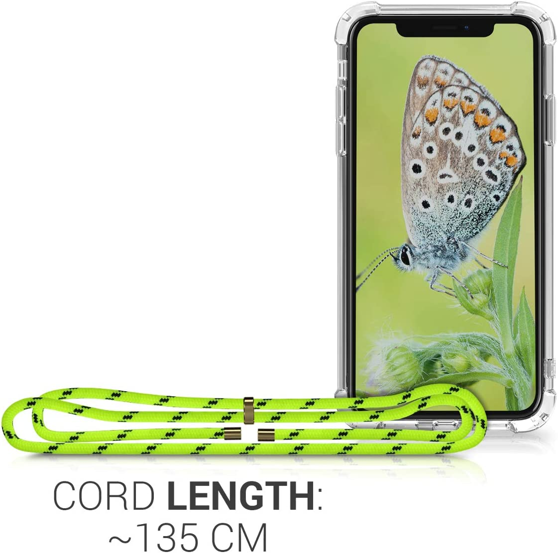 kwmobile Crossbody Case Compatible with Apple iPhone XR Clear Transparent TPU Cell Phone Cover with Neck Cord Lanyard Strap Transparent//Dark Red