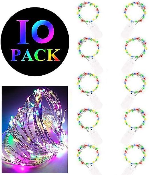 Tasquite 10 PCS Cadenas de Luces para Boda Fiesta Cumpleaños Navidad Halloween Carnaval (10 Pack)(Vistoso): Amazon.es: Hogar